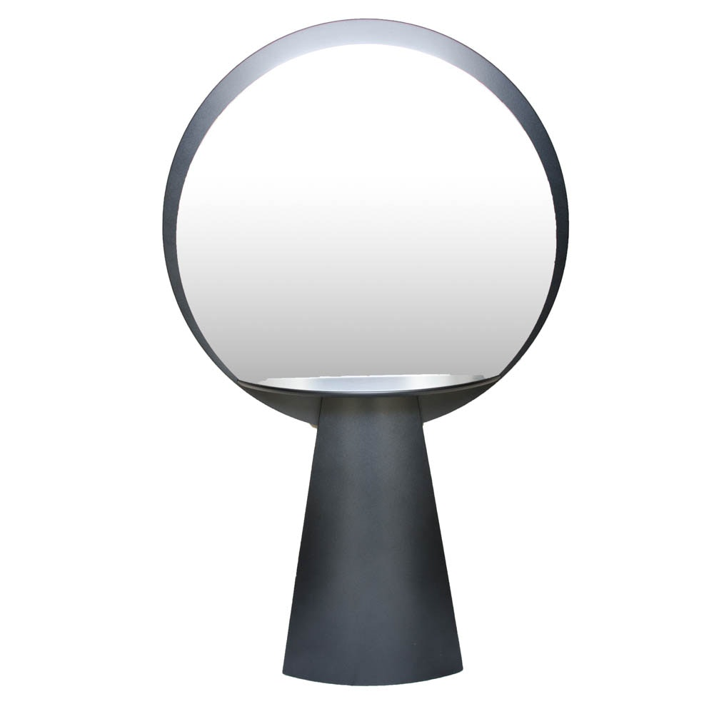 Round Black Wood Framed Mirror With Shelf