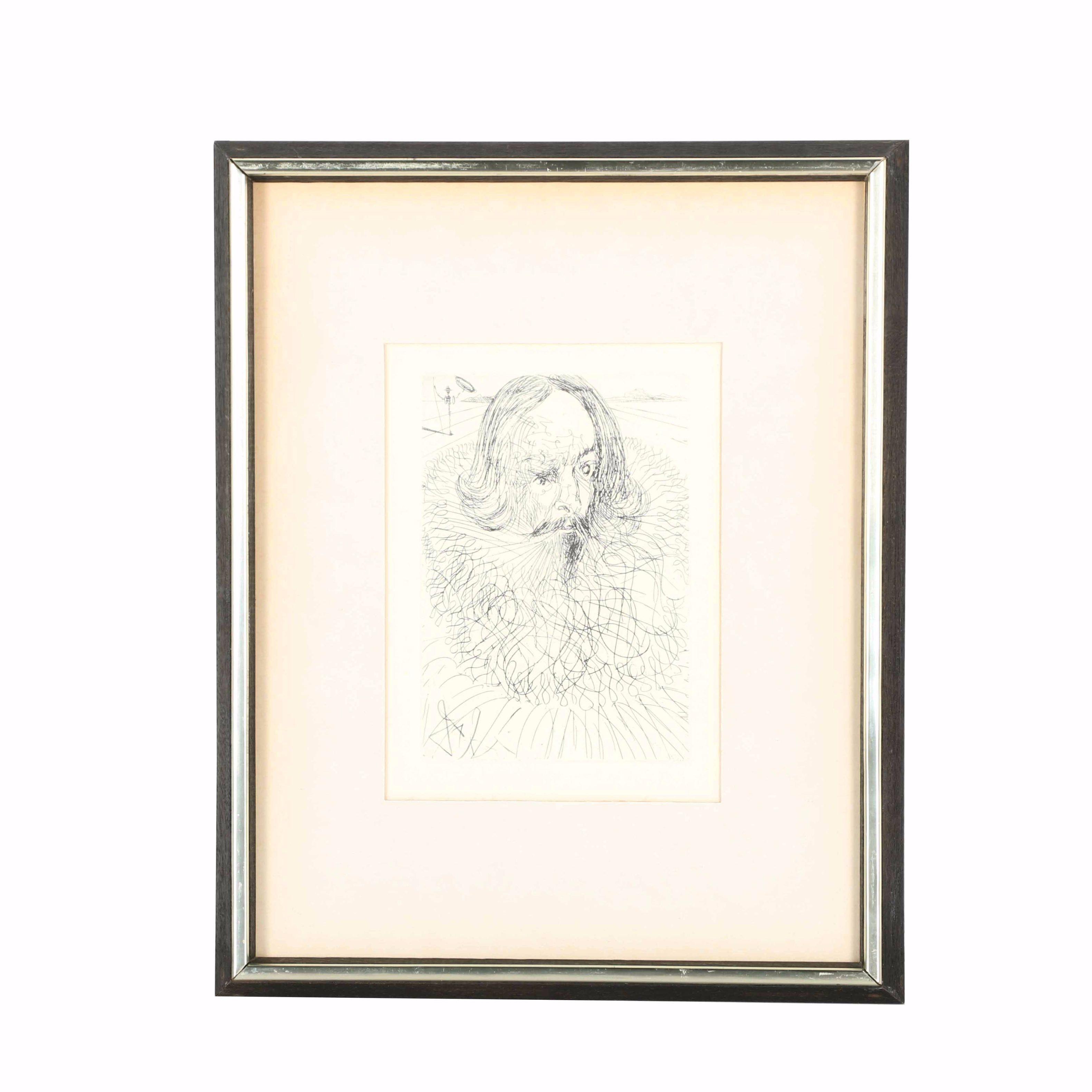 """Restrike Etching of Salvador Dali's """"Cervantes"""""""