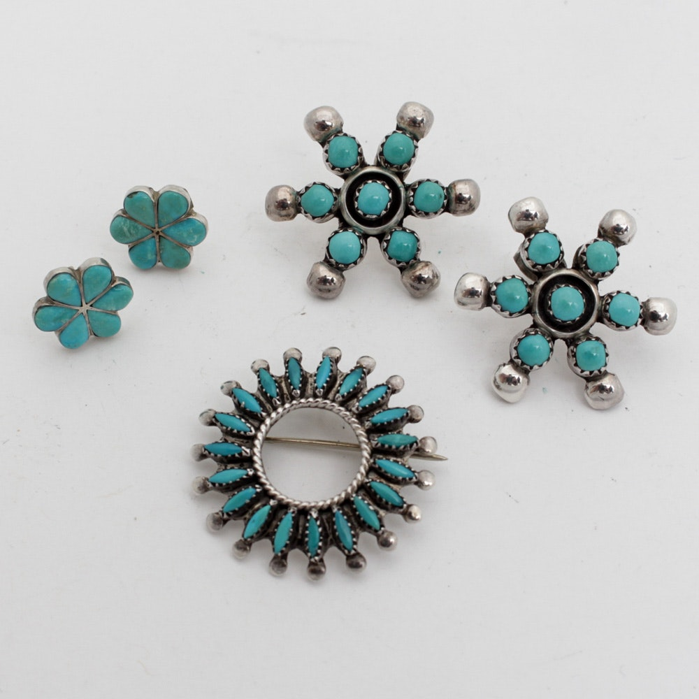 Sterling Silver Synthetic Turquoise Jewelry
