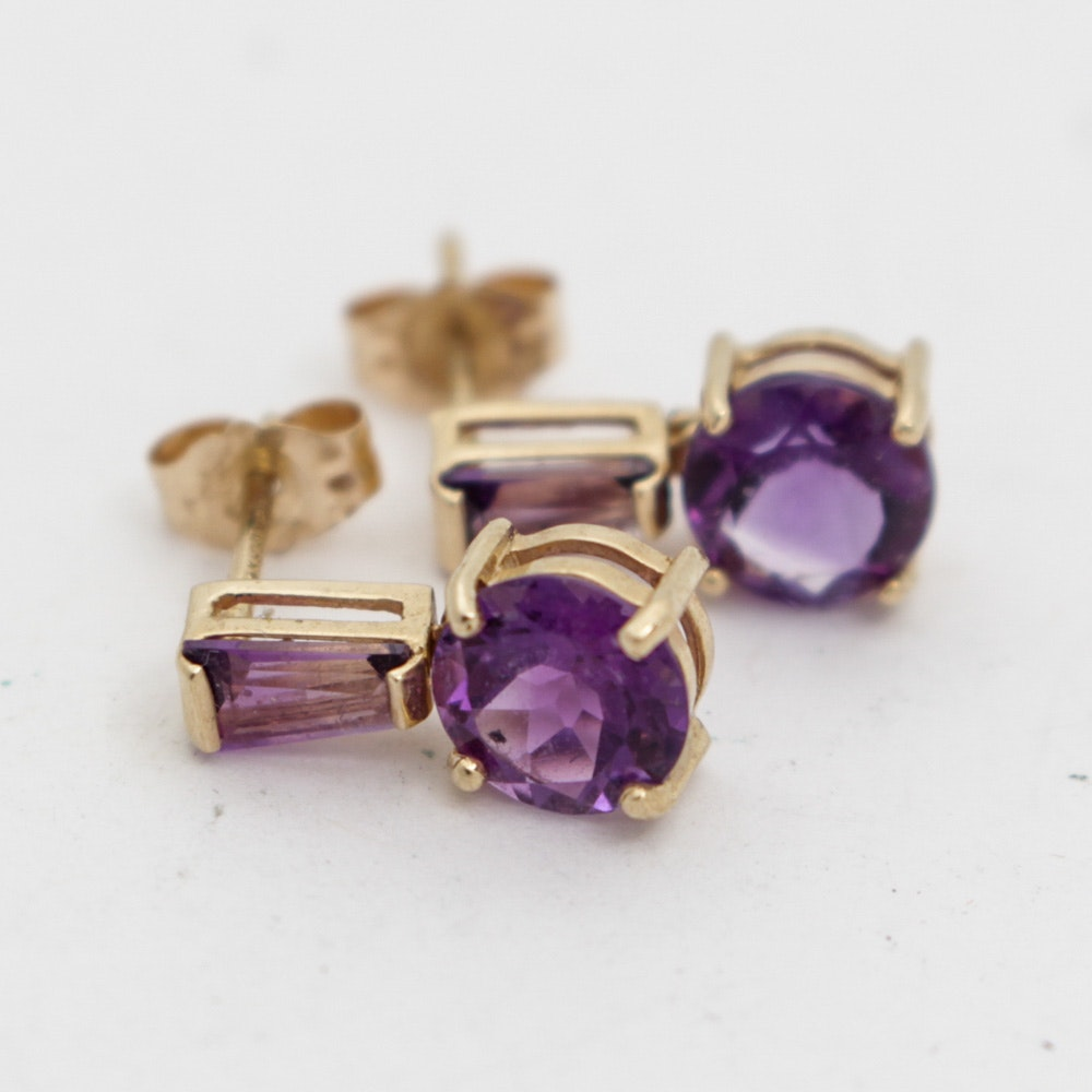 14K Yellow Gold and Amethyst Earrings