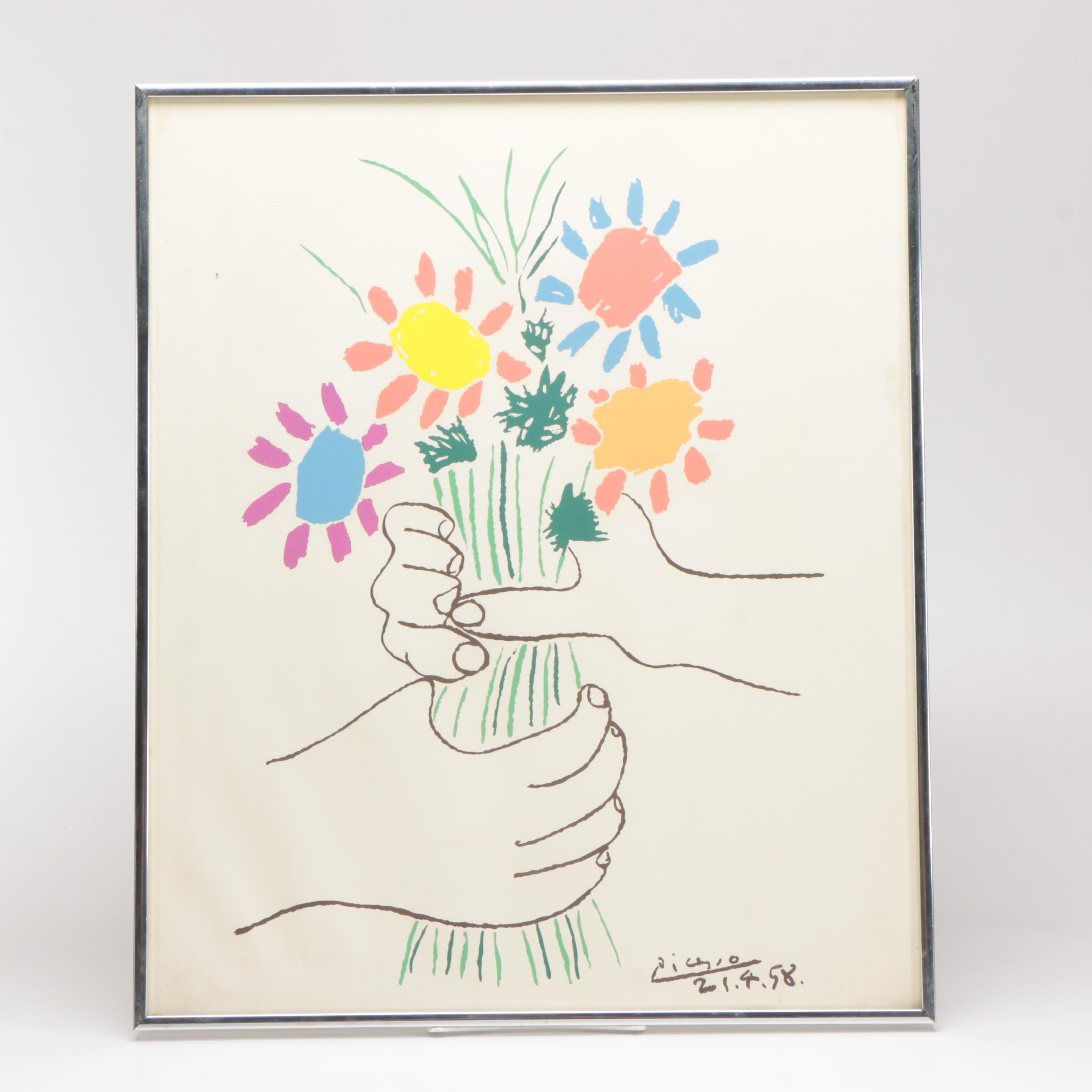 """Framed Serigraph After Pablo Picasso """"Hands With Flowers"""""""
