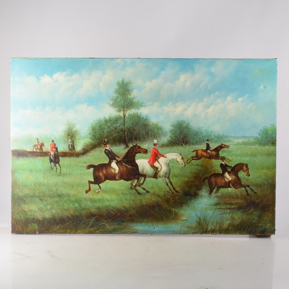 J. Stark Framed Oil on Canvas Painting of Fox Hunting Scene