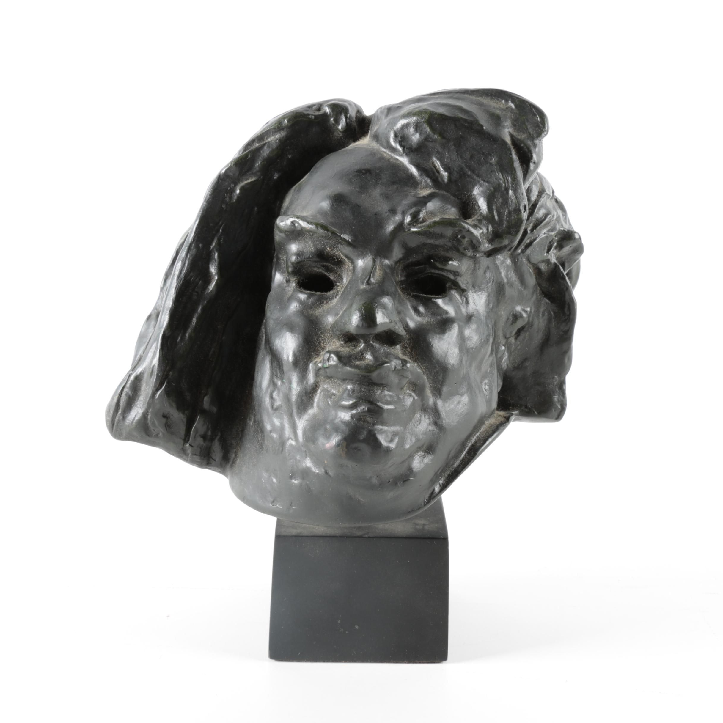 """Cast Resin Bust after Auguste Rodin """"Colossal Head of Balzac"""""""
