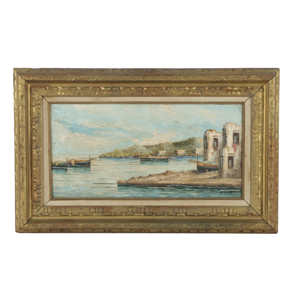 A. Luise Oil Painting on Canvas Village Maritime Scene