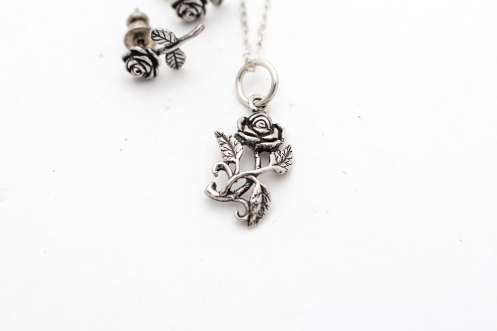 Sterling Silver Rose Necklace and Earring Set