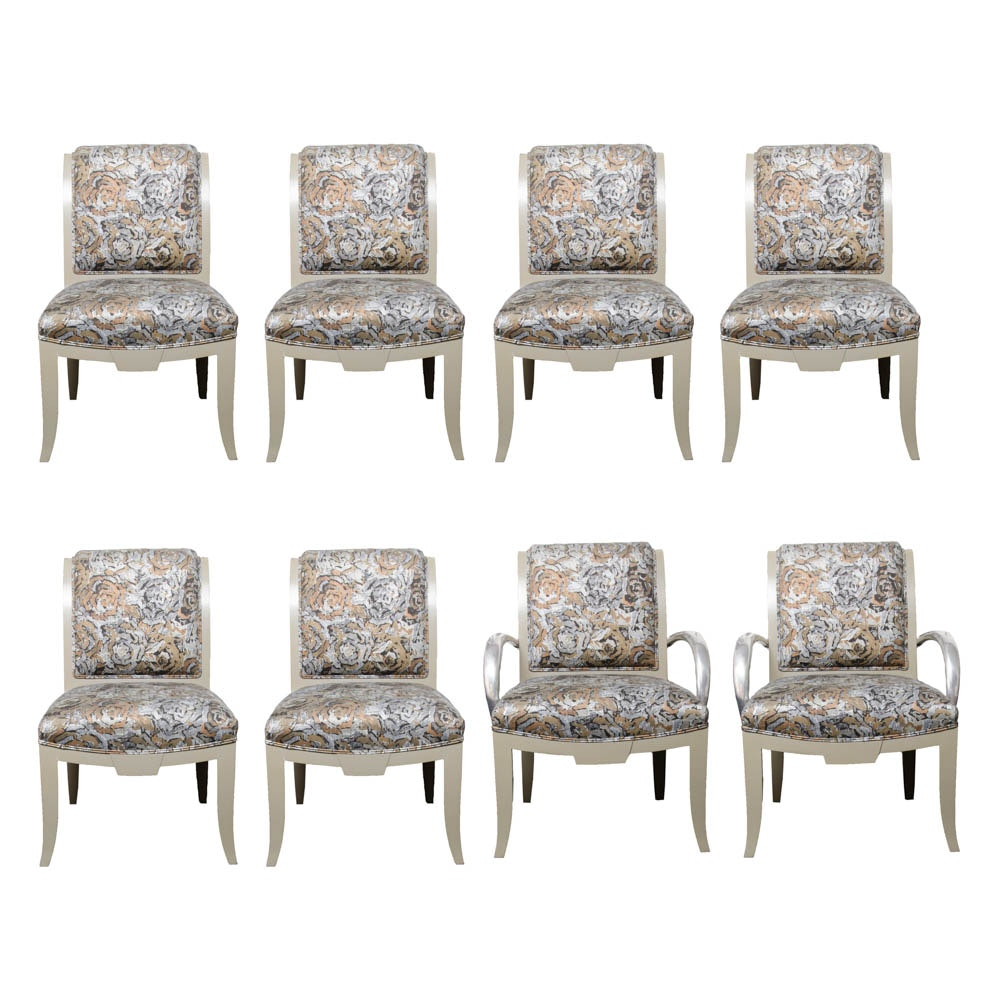 Dining Chairs With Metallic Rose Upholstery
