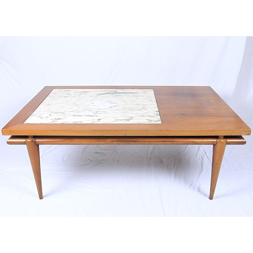 Mid Century Modern John Widdicomb Coffee Table With Marble Inlay