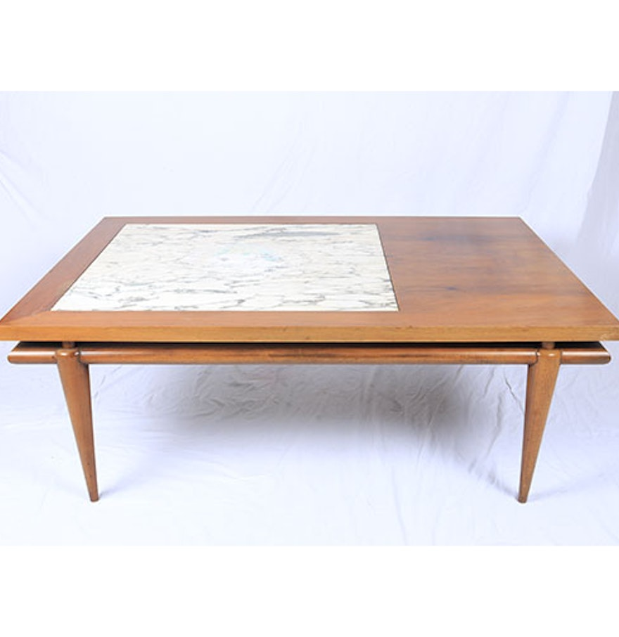 Mid Century Modern Marble Table: Mid Century Modern John Widdicomb Coffee Table With Marble