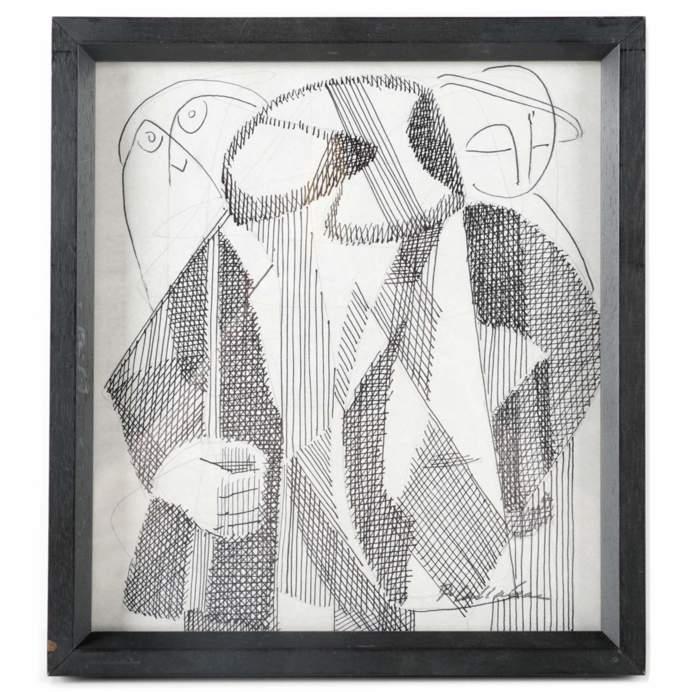 Phillip Callahan Original Ink Drawing of Abstract Figures