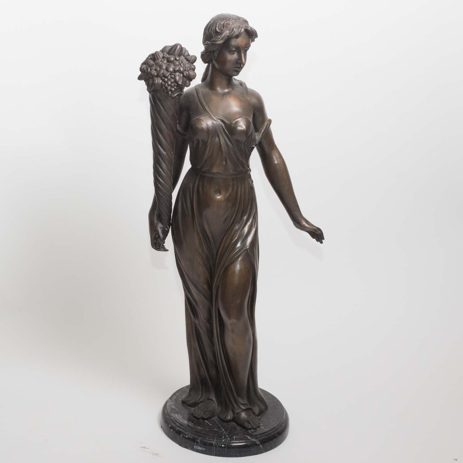Bronze Fall Allegorical Sculpture on Marble Base