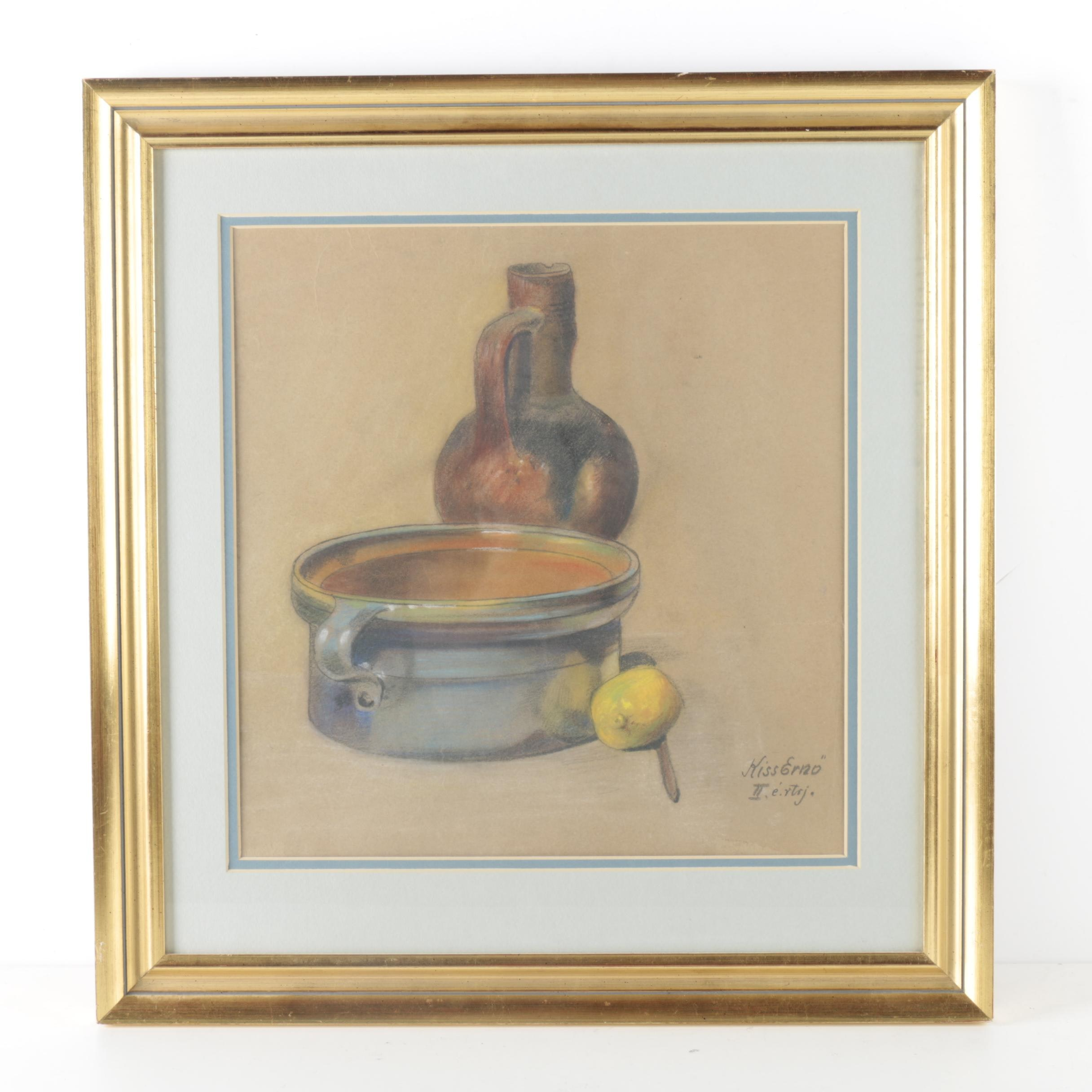 Pastel Drawing on Paper of a Still Life
