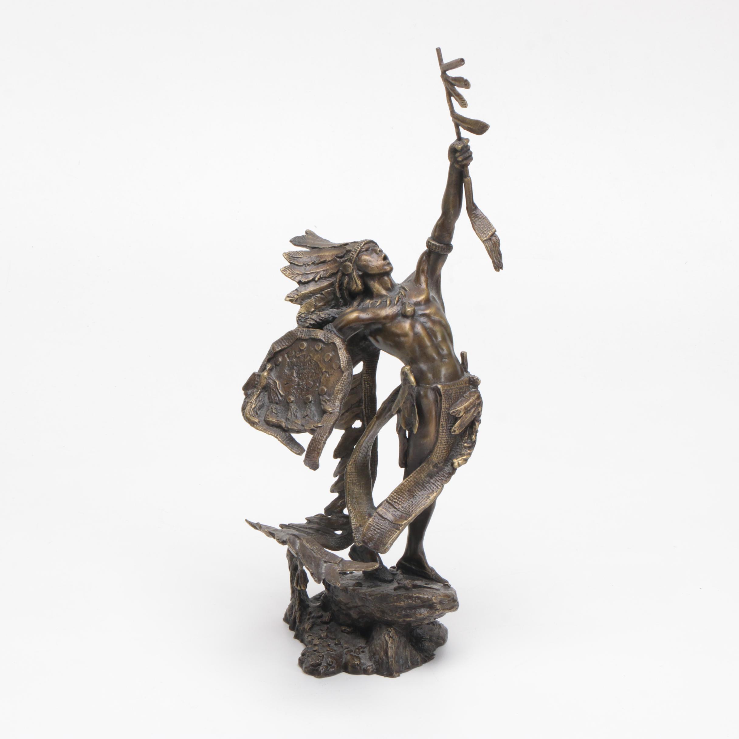 "Reproduction Bronze Sculpture After Jim Ponter's ""War Cry"""