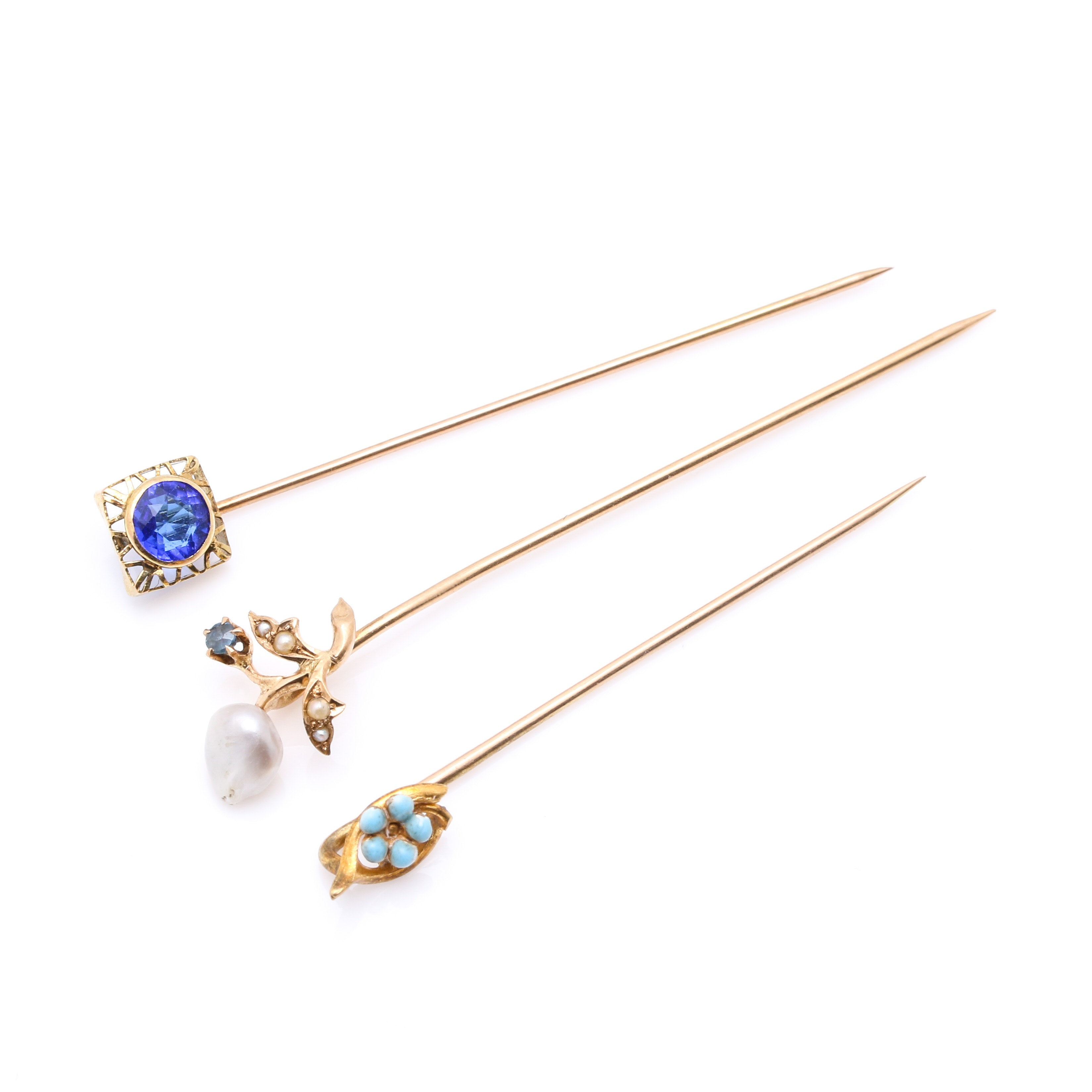 Late Victorian 14K and 10K Yellow Gold Pins