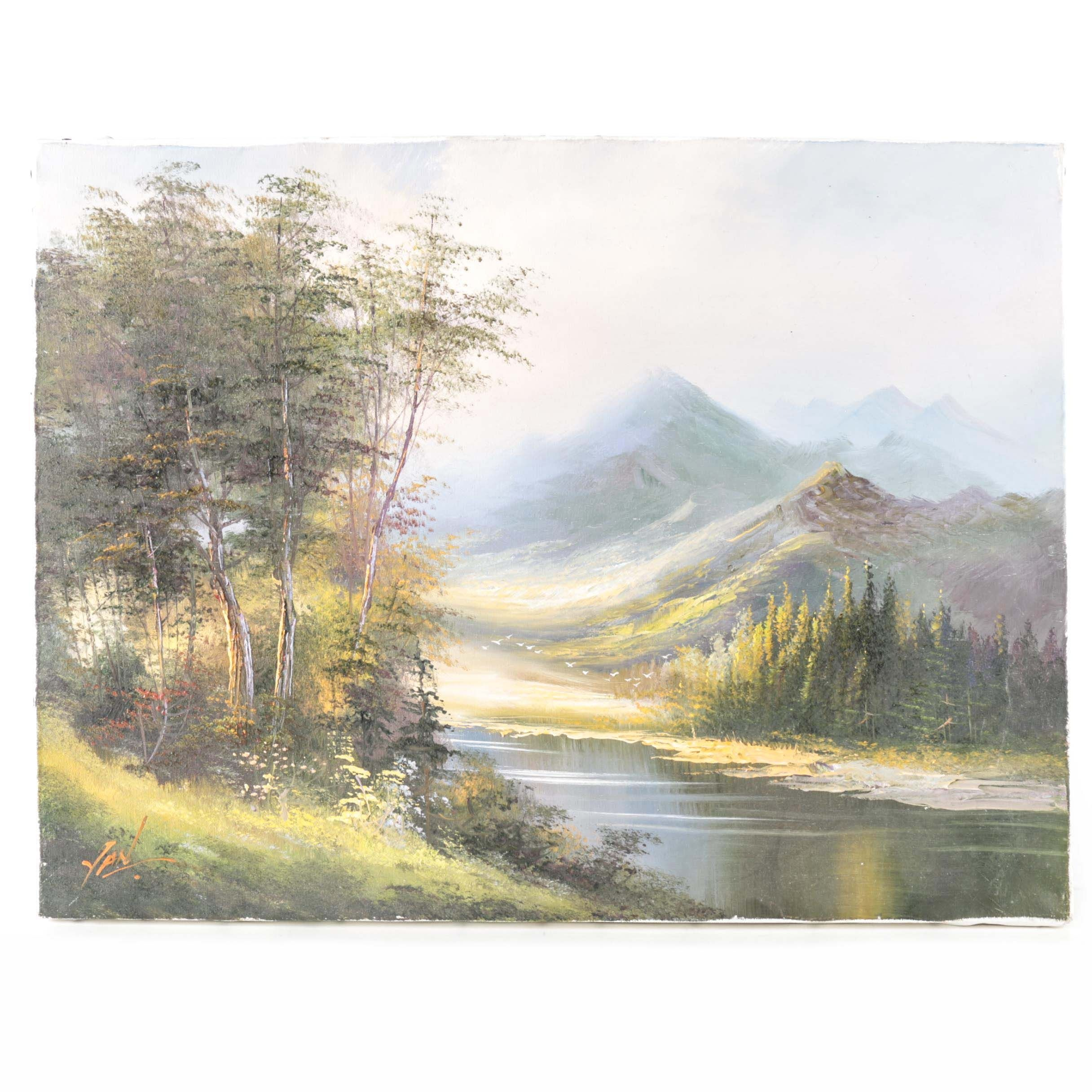 Signed Oil on Canvas of Mountain Landscape
