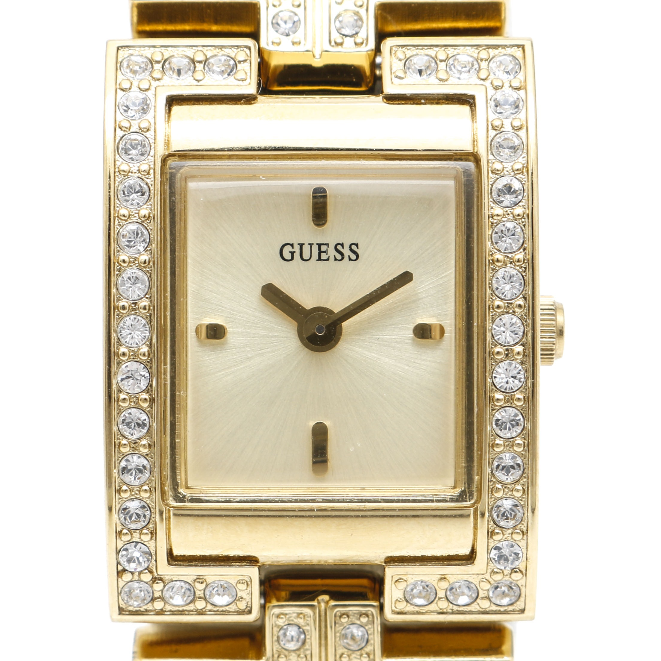 Guess Gold Tone Glass Stone Wristwatch