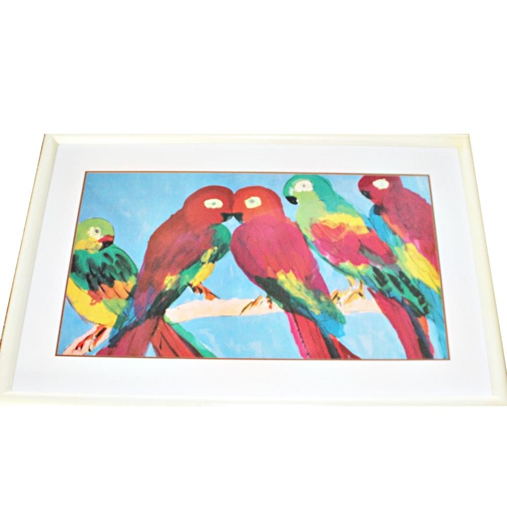 Flock of Parrots Print