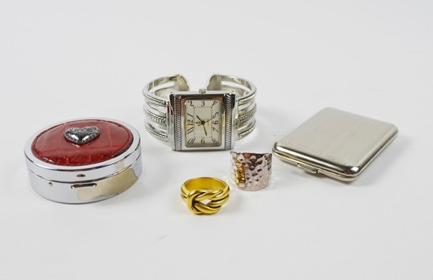 Premier Designs Cuff Watch and Rings and Brighton and Hansaware Pill Boxes