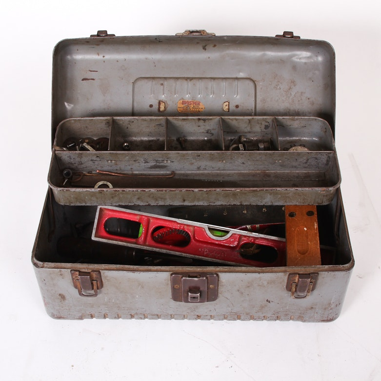Vintage Metal Tackle Box with Tools