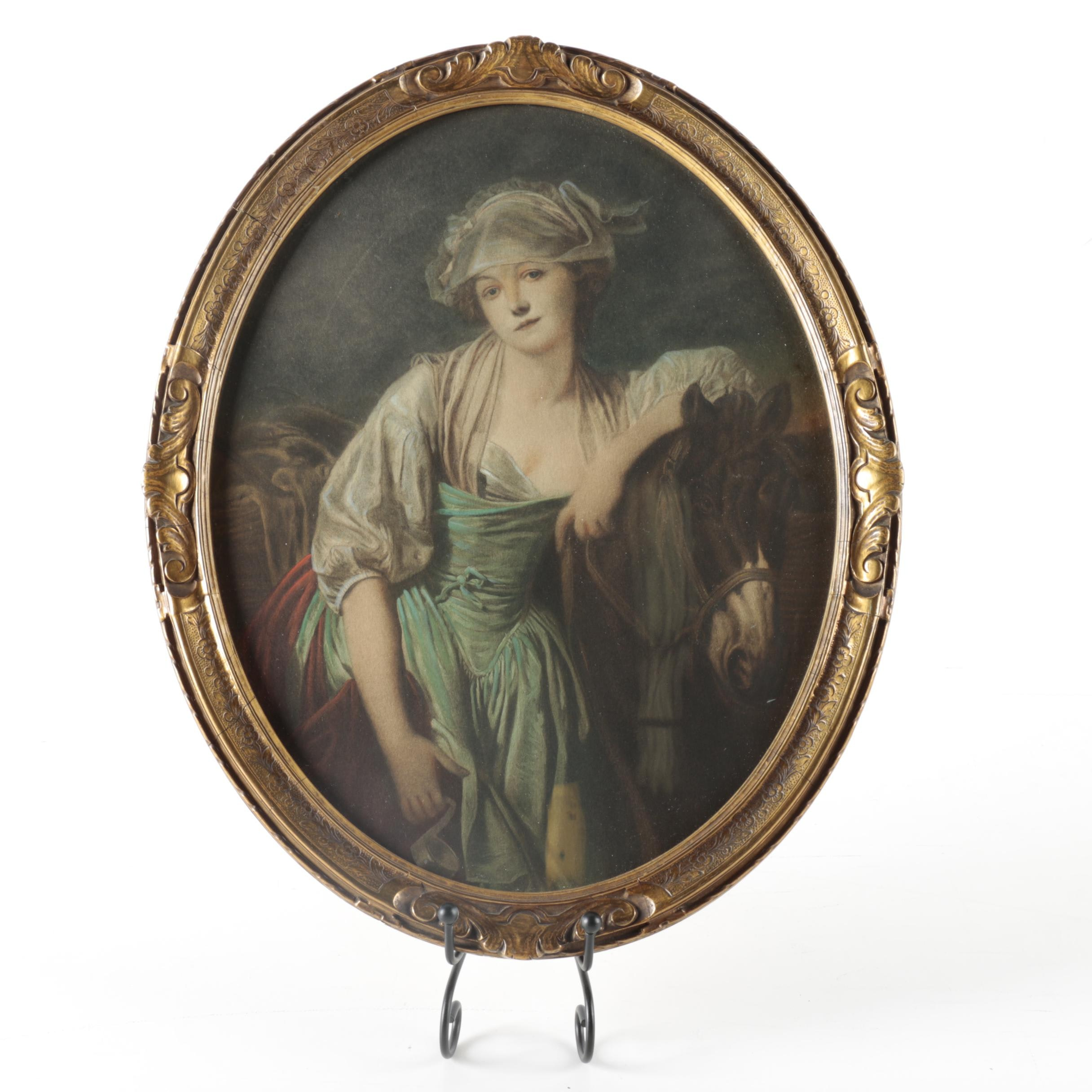 Hand Colored Lithograph Portrait of Woman and Pony