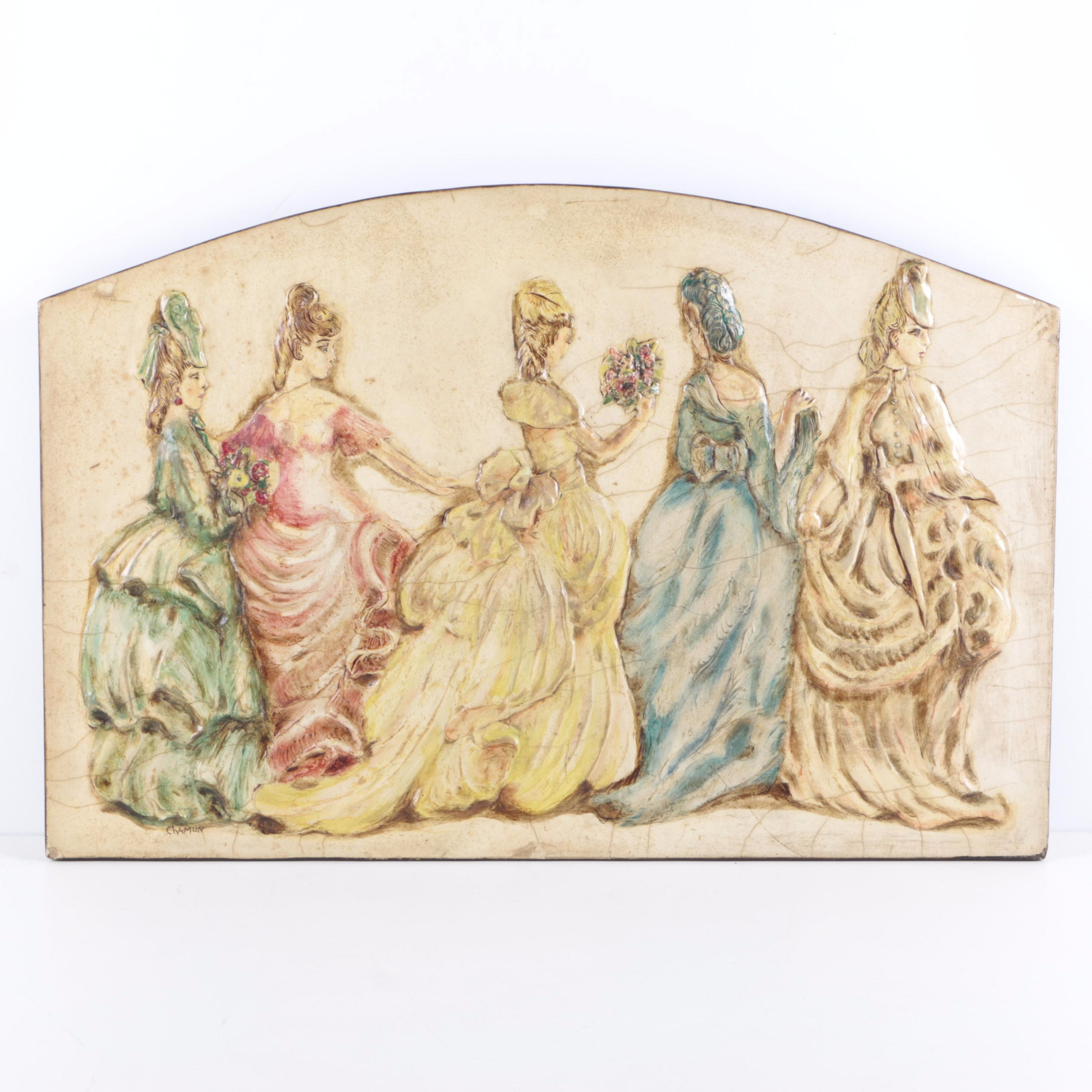 Signed Painted Relief of Five Women