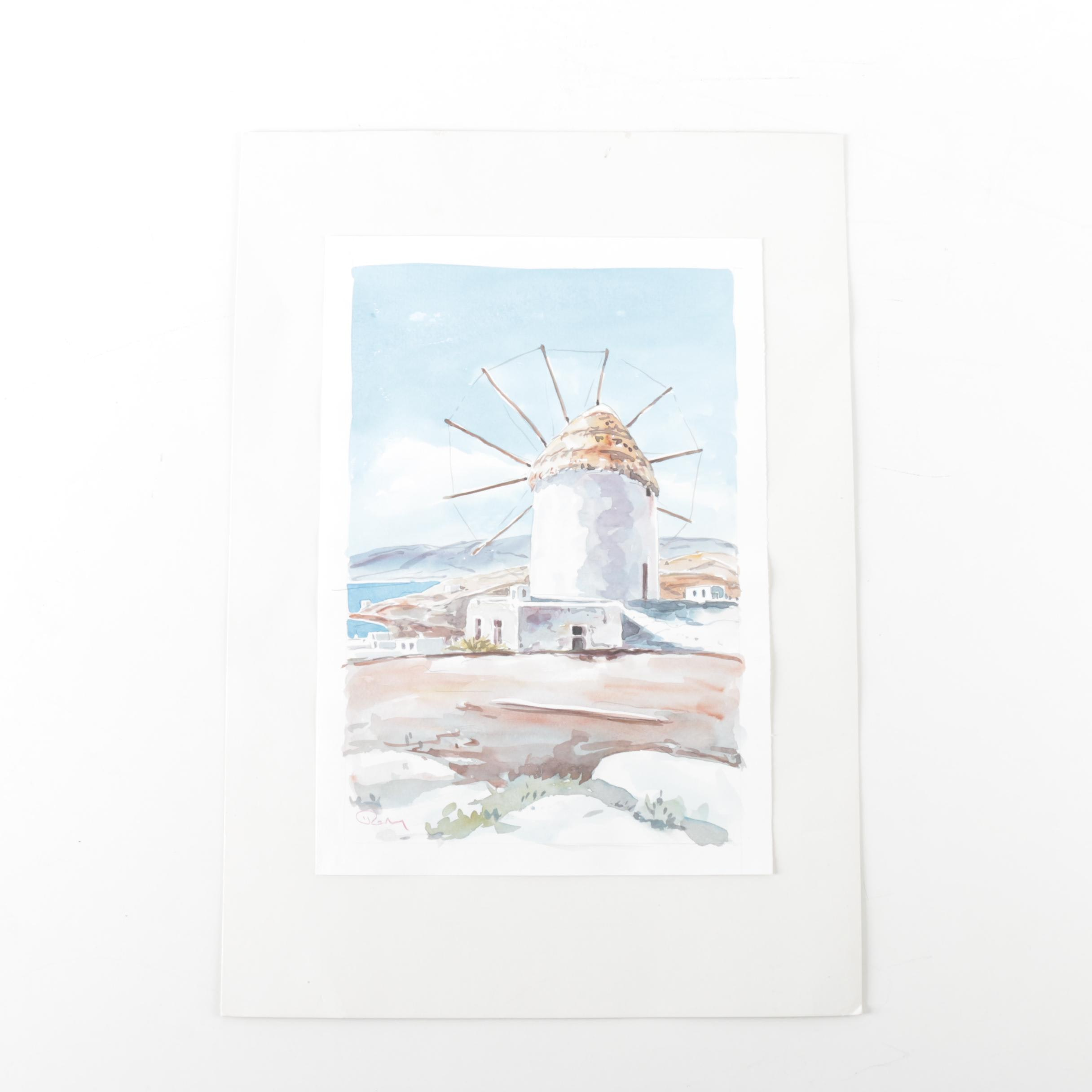 Watercolor Painting on Paper of a Windmill