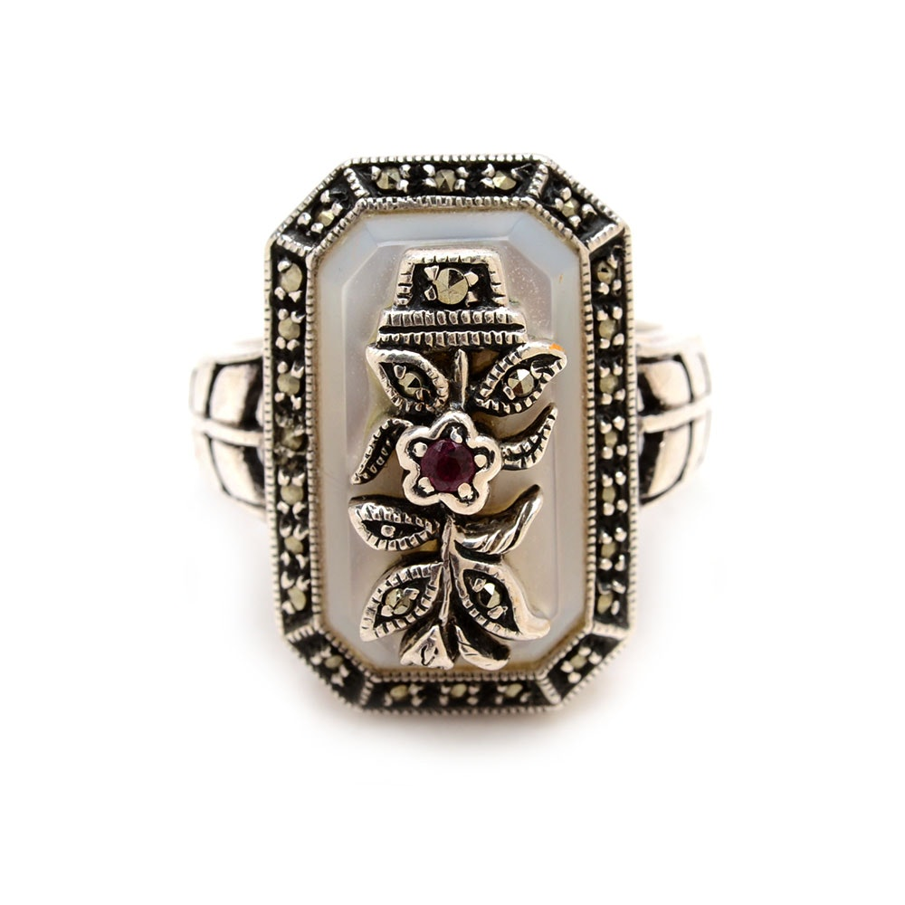 Sterling Silver Natural Ruby, Marcasite, and Mother of Pearl Ring