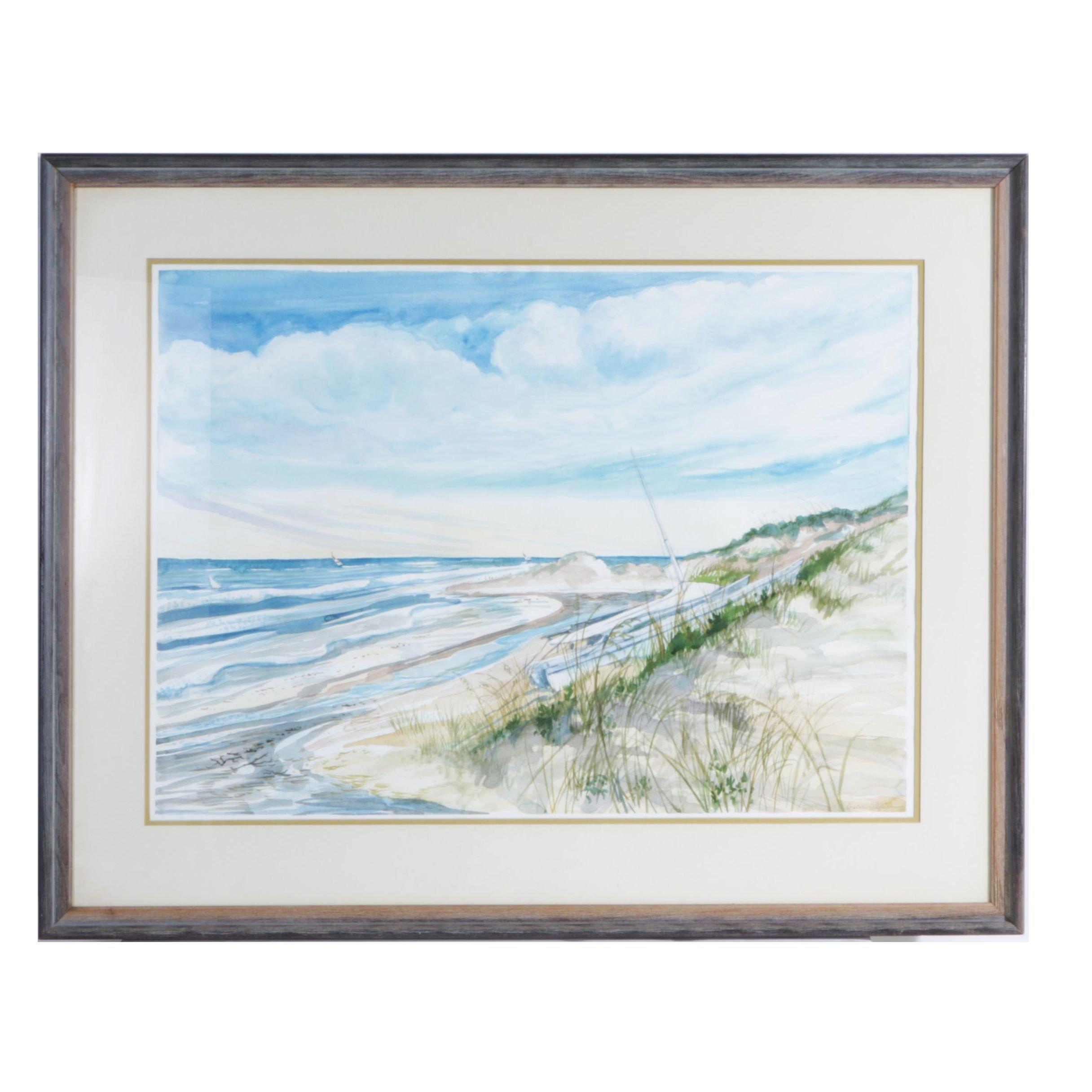 Signed Original Watercolor Of Catamaran On Beach