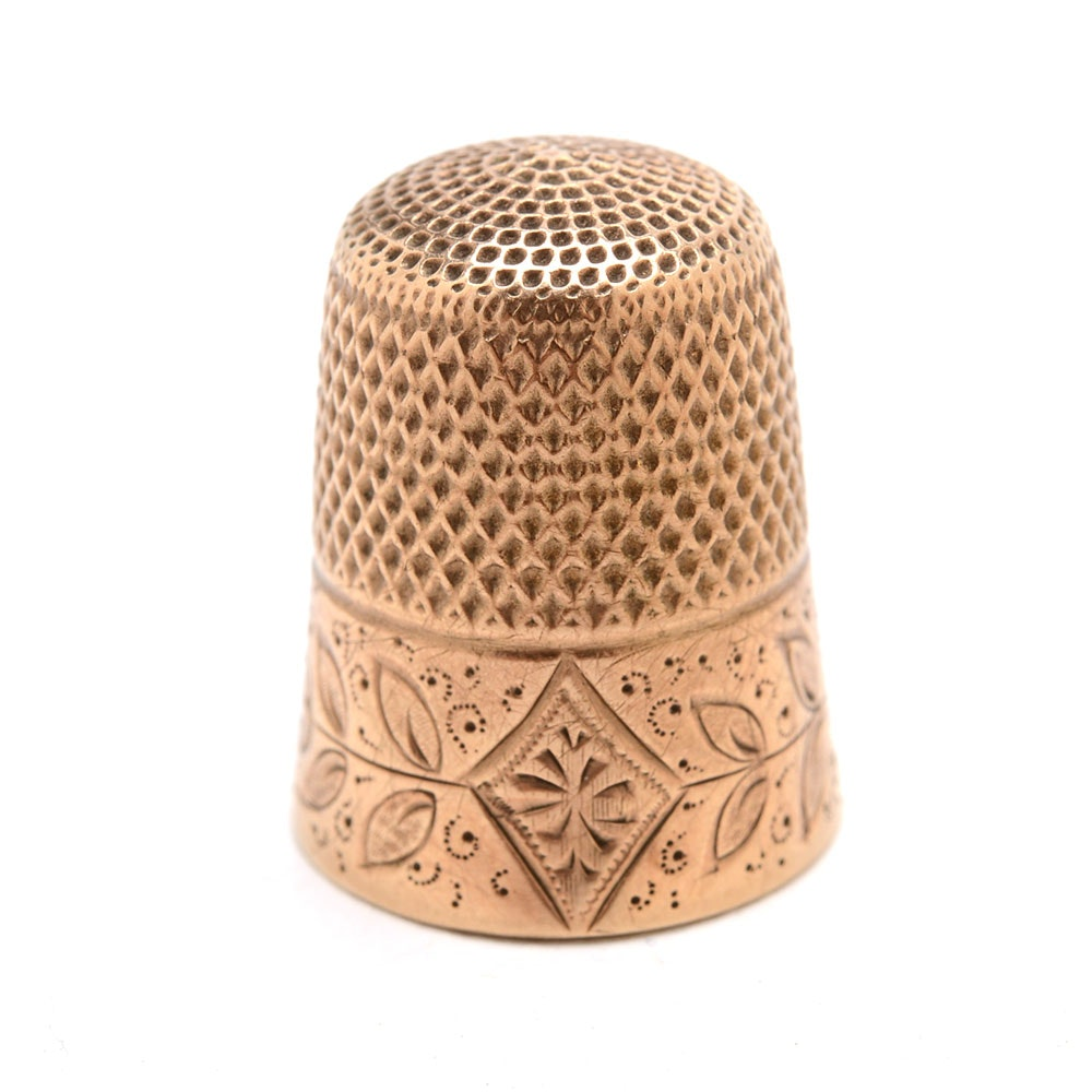 Antique 10K Yellow Gold Engraved Sewing Thimble