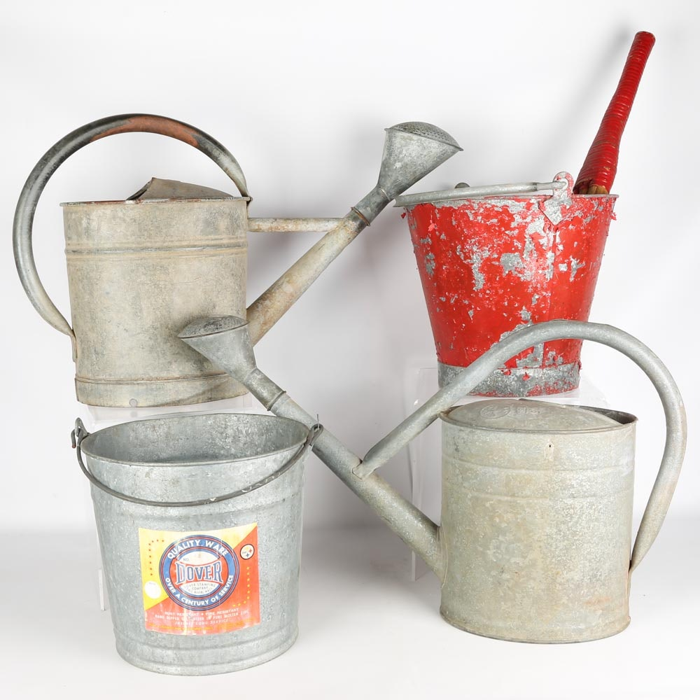 Vintage Galvanized Metal Cans and Buckets