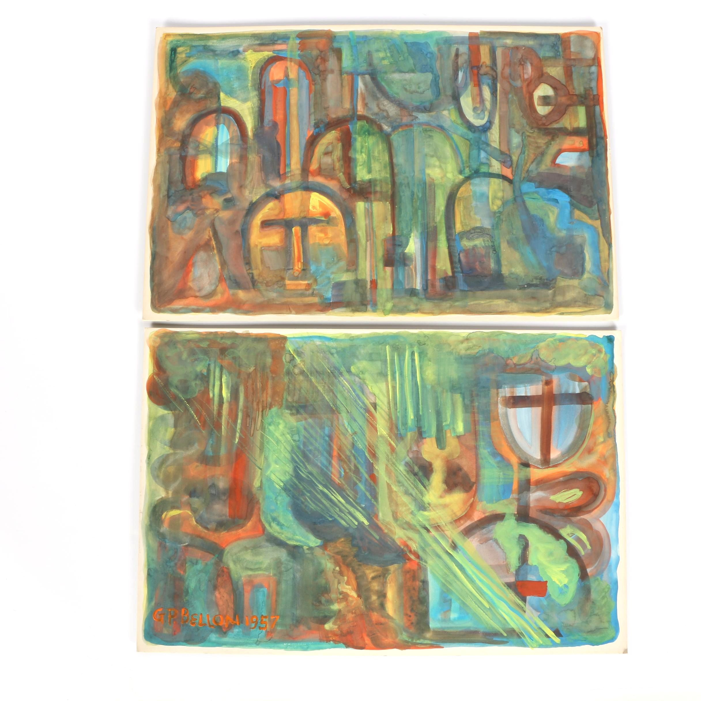 Two George Paul Bellon Original Abstract Watercolor Paintings