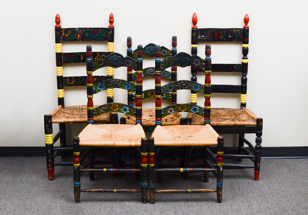 Black Ladder Back Chairs With Bright Painted Accents
