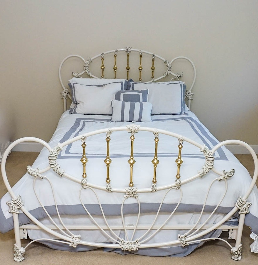 Victorian White Iron Beds : White iron and brass victorian style bed by elliot s
