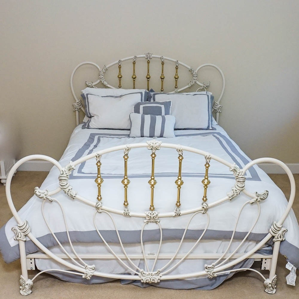 white iron and brass victorian style bed by design