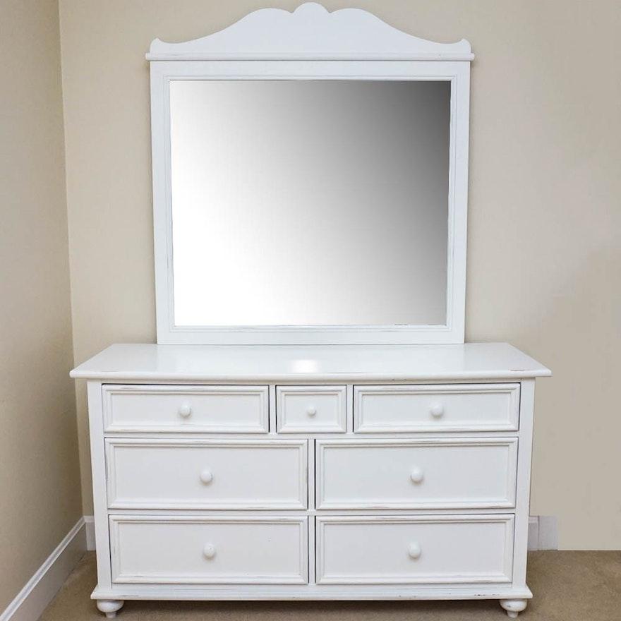 White Dresser With Mirror By Stanley Furniture Ebth