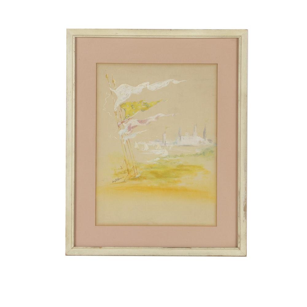 Hazel Ware Pastel Drawing on Paper of a Beach Scene