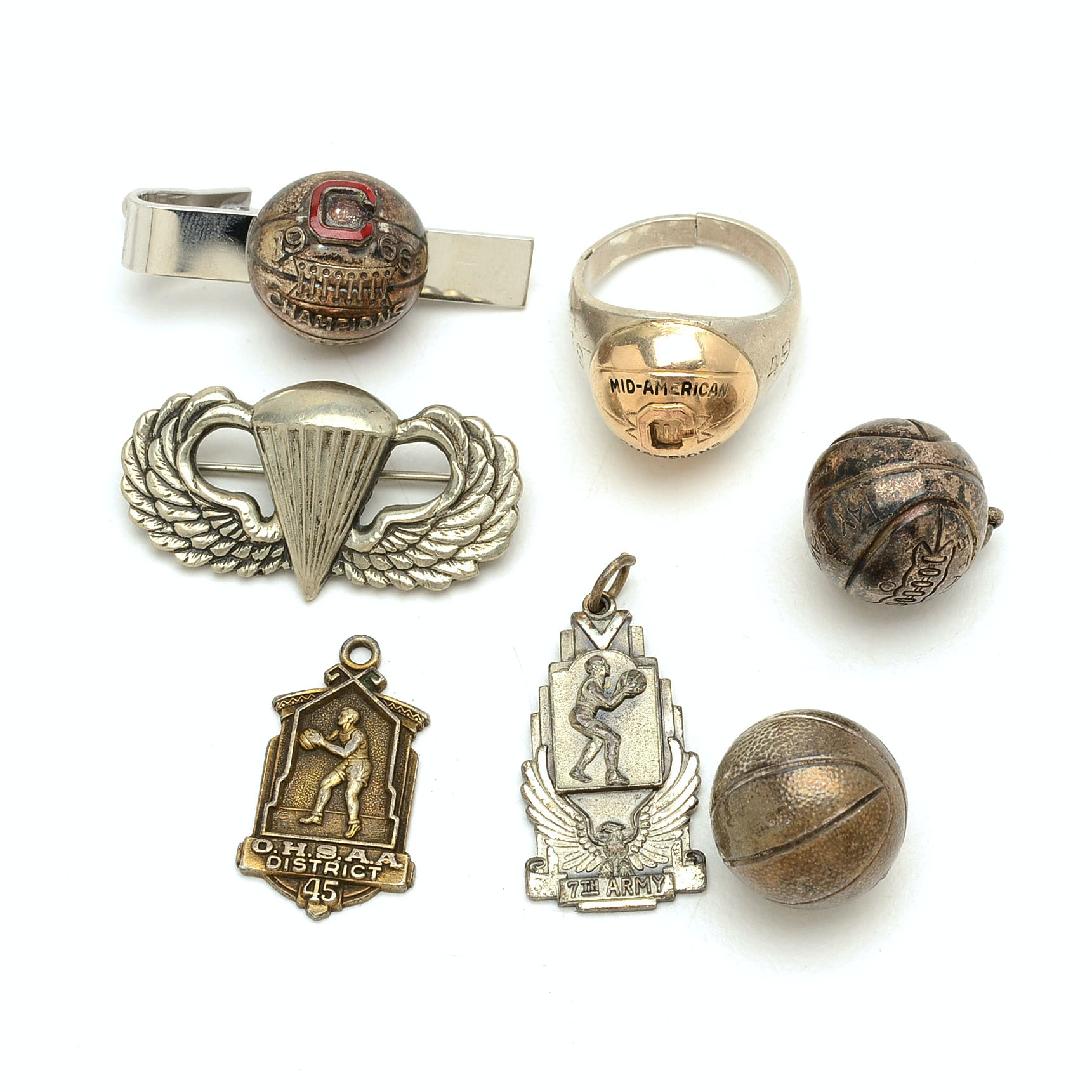 Assortment of Vintage Sterling Silver Sports Charms and More