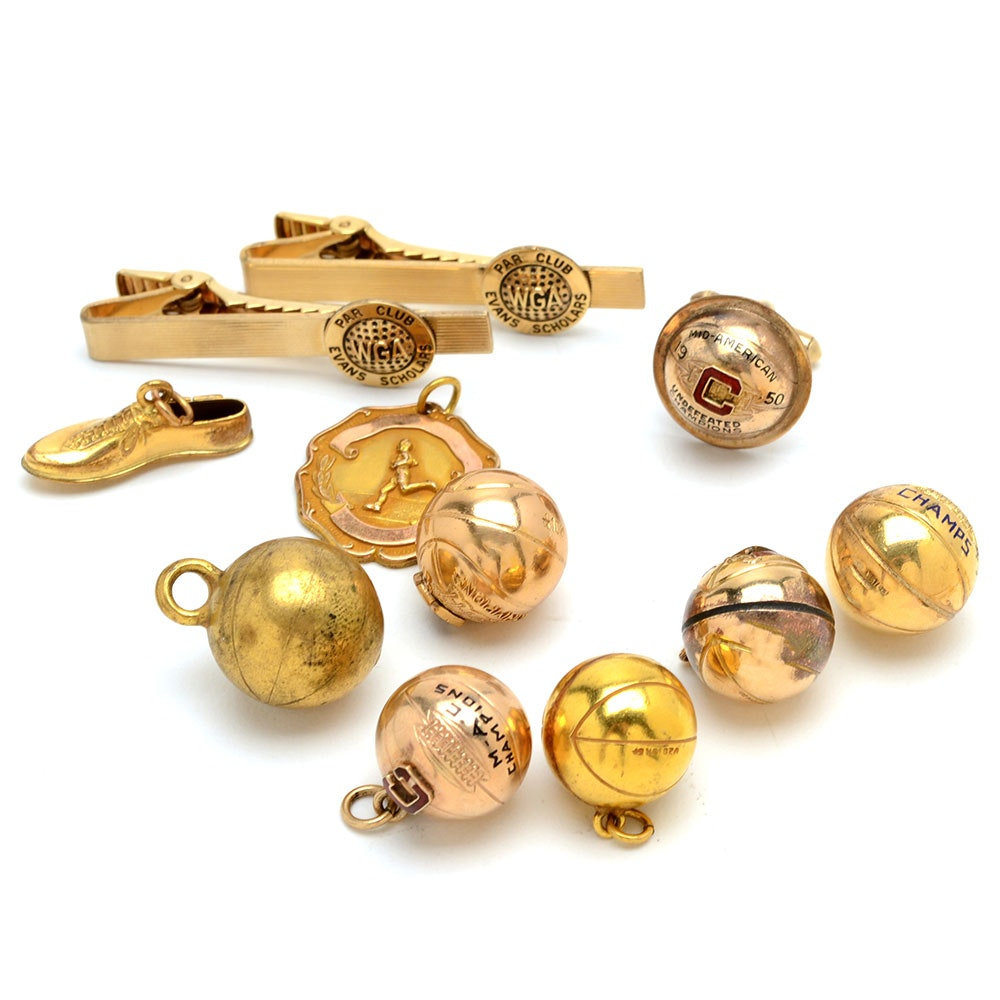 Assortment of Vintage Gold Filled Sports Charms and More