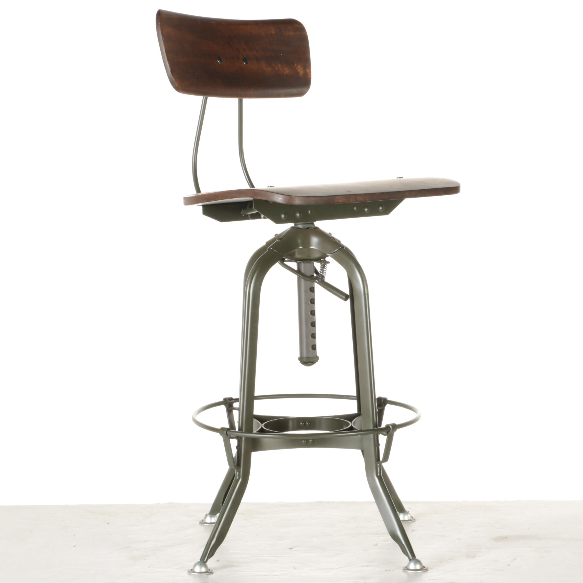 Industrial Style Wood and Metal Barstool