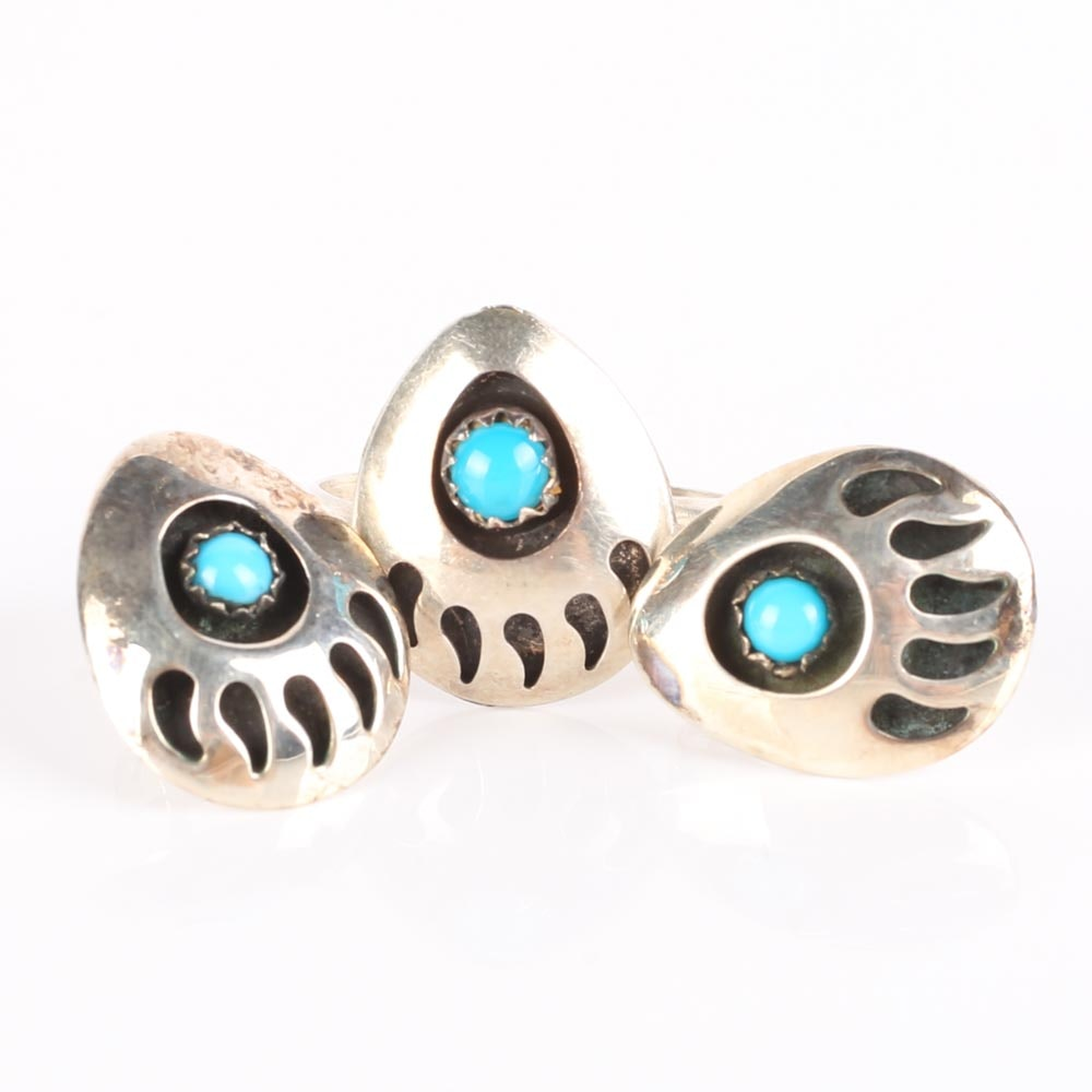 Sterling Silver and Turquoise Bear Claw RIng and Earrings