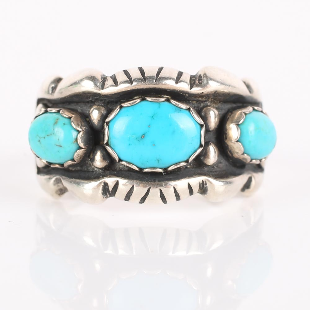 Sterling Silver and Three-Stone Turquoise Ring