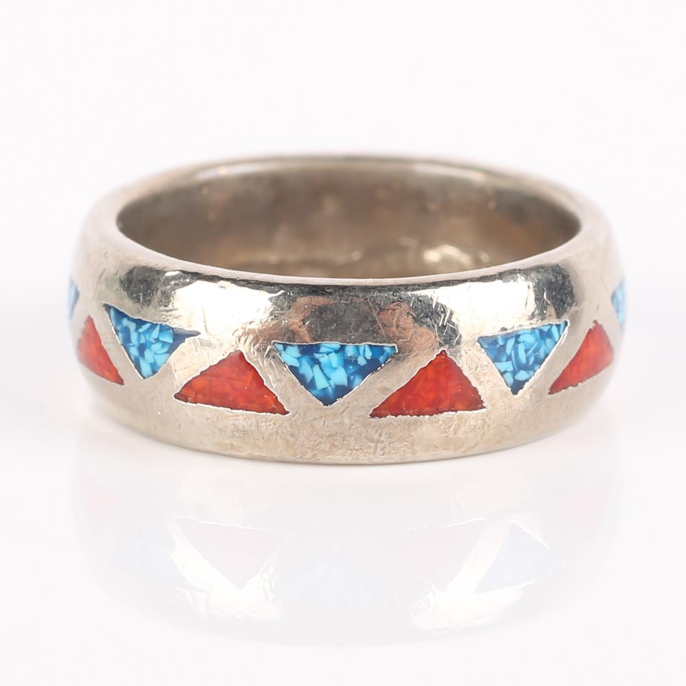 Inlaid Turquoise Chip and Coral Band
