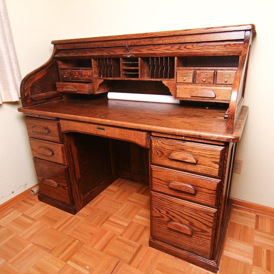 Oak Roll Top Desk By Barn Furniture