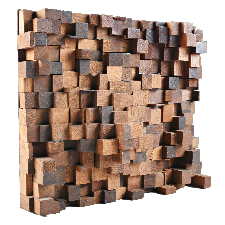 Wooden Cubed Wall Sculpture