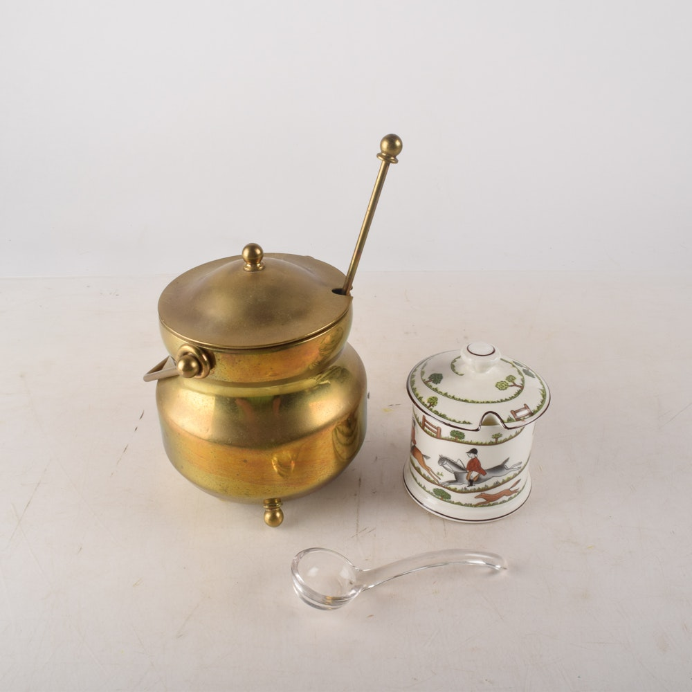 Brass Smudge Fire Starter Pot and China Condiment Pot