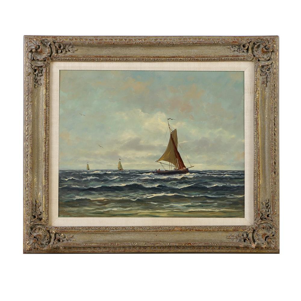 V. D. Velde Oil Painting on Panel of Nautical Scene