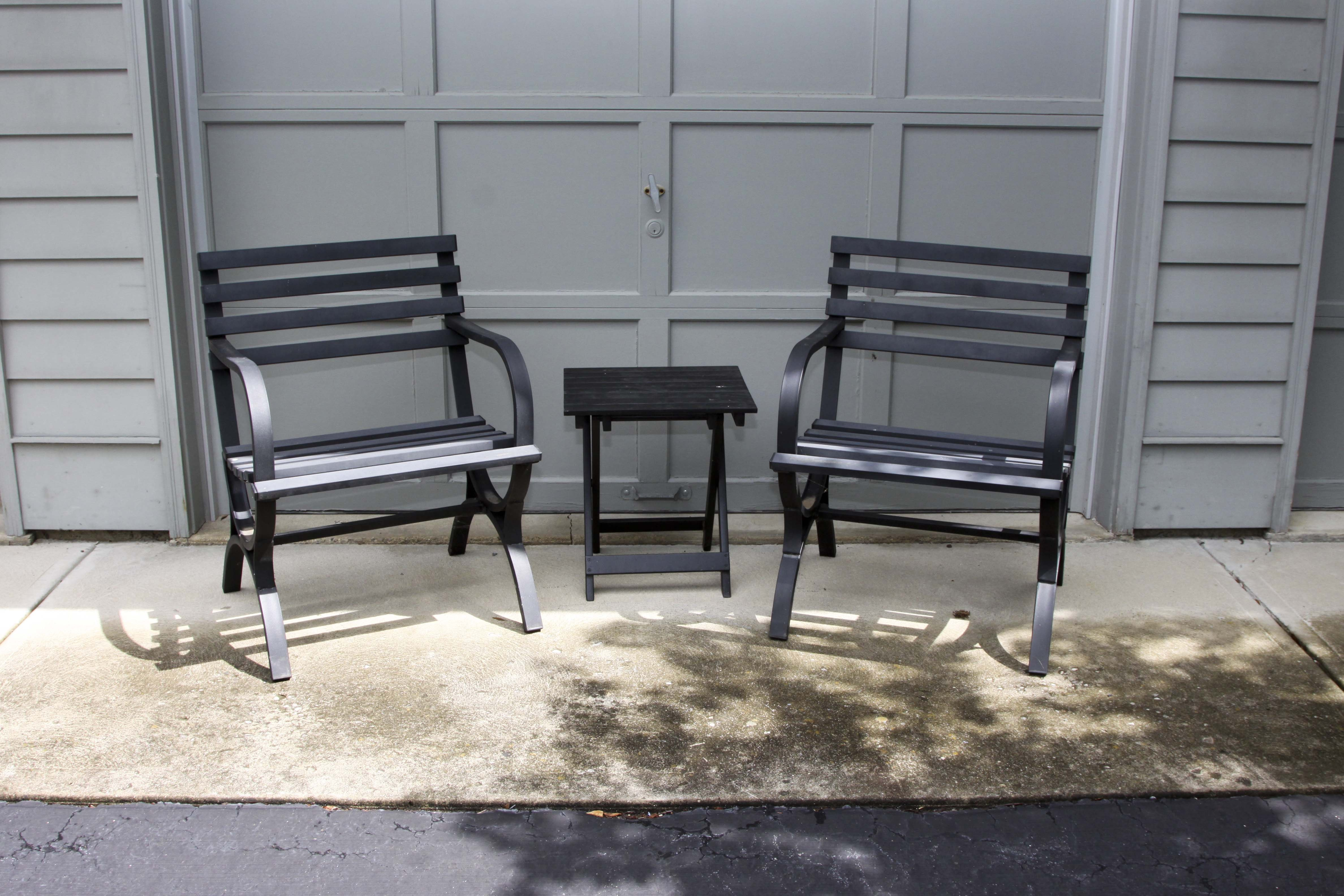 Metal Patio Chairs and  Side Table