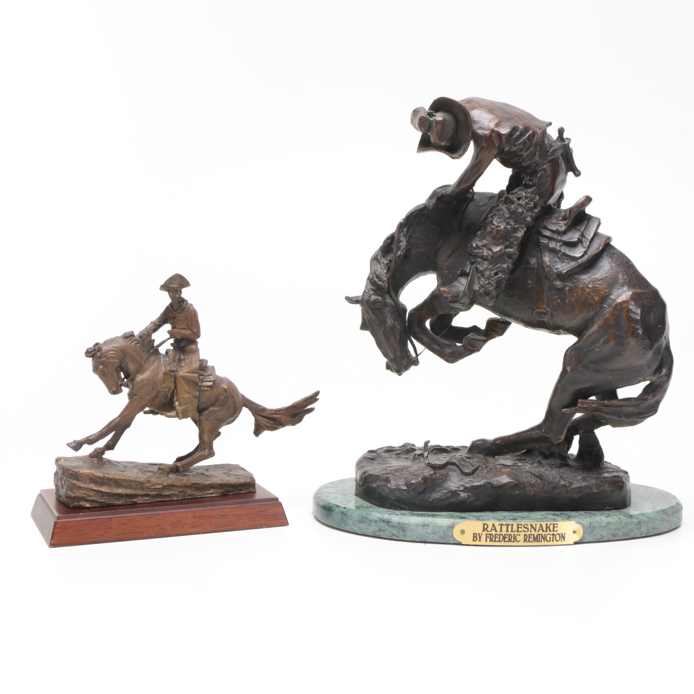 """Cast Metal Reproductions After Frederic Remington """"Rattlesnake"""" and """"The Cowboy"""""""