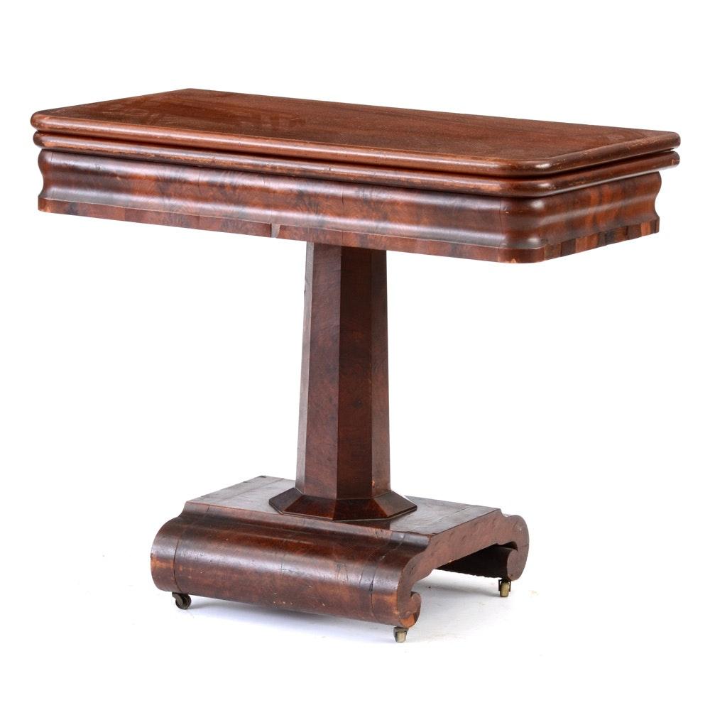 Elegant Antique Empire Style Mahogany Flip Top Game Table ...
