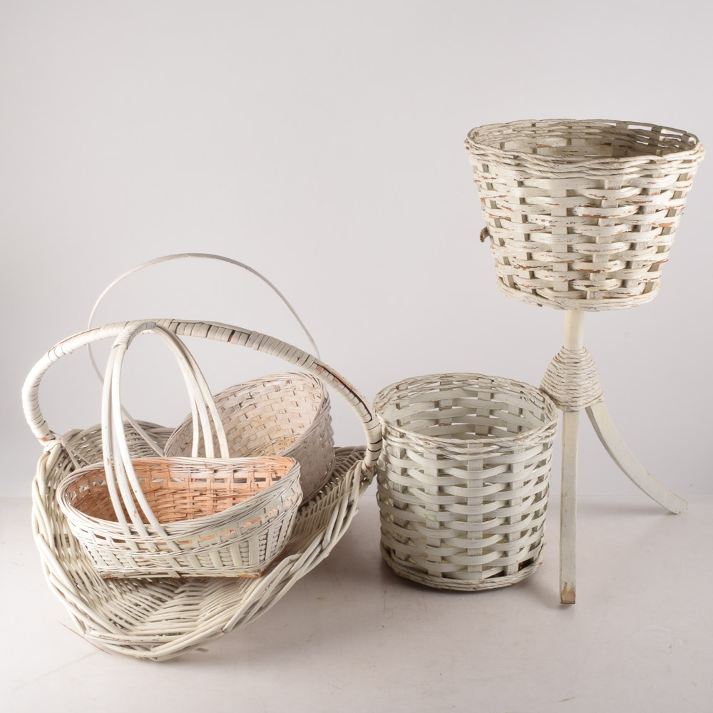 Vintage White Wicker Planters and Baskets