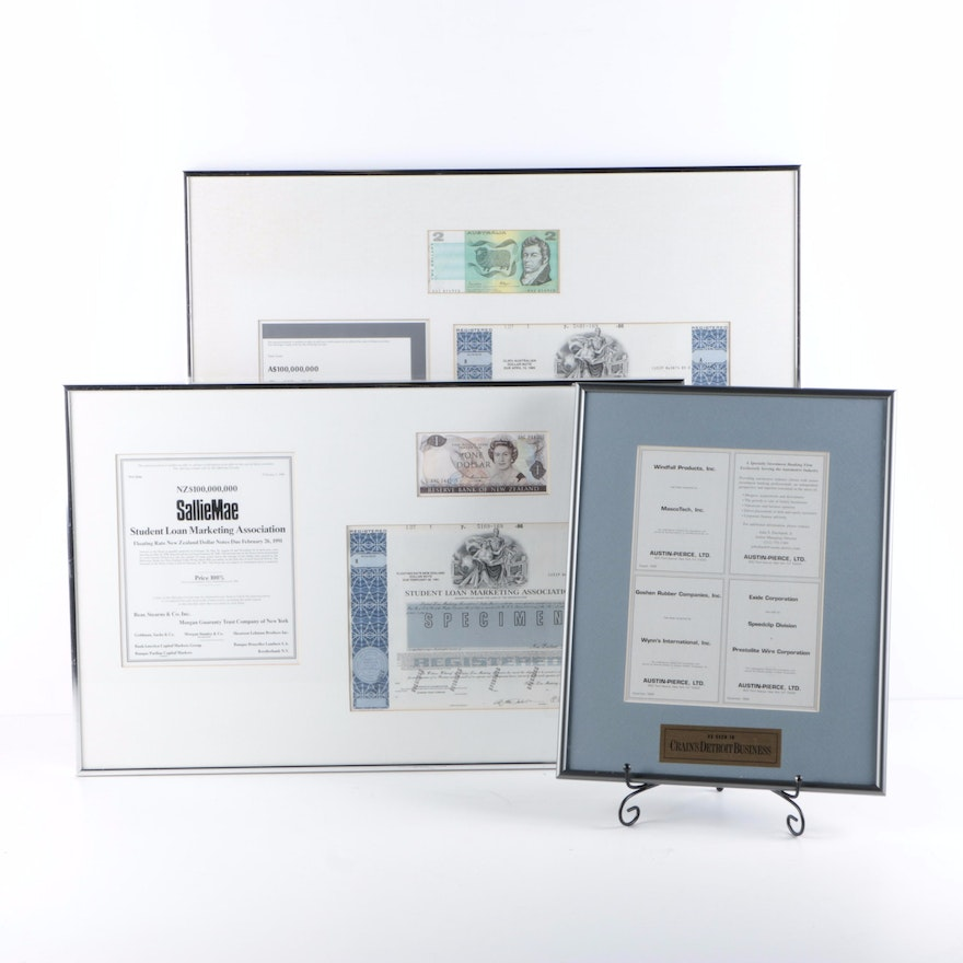 Framed Currency and Business Documents : EBTH